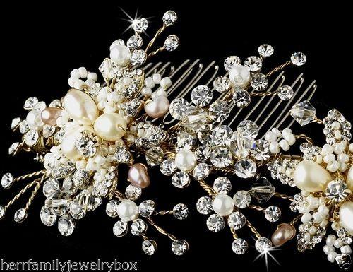 Gold & Ivory Swarovski Crystal Freshwater Pearl Bridal Hair Comb Piece Wedding