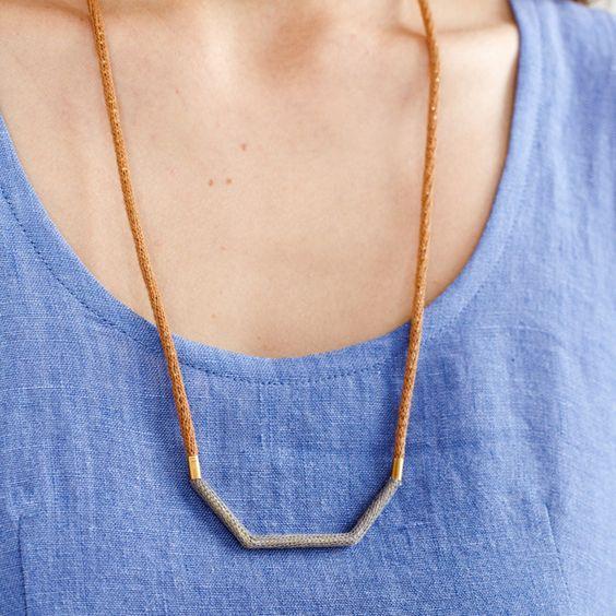 Image of Logwood and Cutch Camel Shallow Bracket Necklace