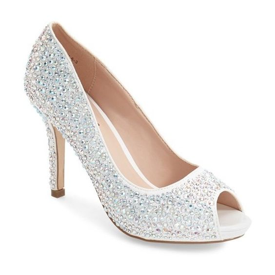 Women's Lauren Lorraine 'Paula' Peep Toe Pump ($110) ❤ liked on Polyvore featuring shoes, pumps, white sparkle, rhinestone pumps, sparkle platform pumps, white shoes, rhinestone shoes and white pumps