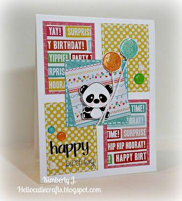 Kimberly's Crafty Spot: Panda Birthday card #2 using Pink & Main Pandamonium and Stitched Greetings stamp set.