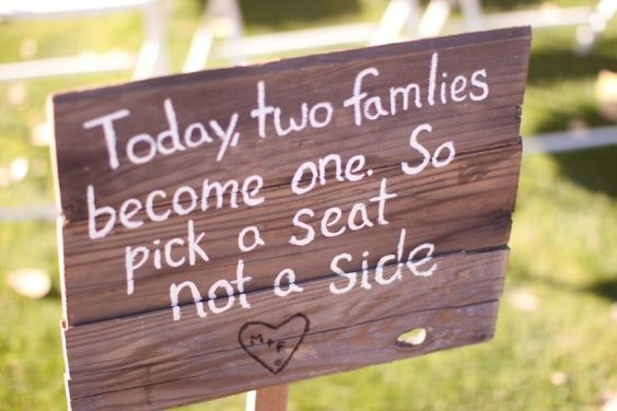 Pick a seat, not a side! I'm doing this on my wedding day: