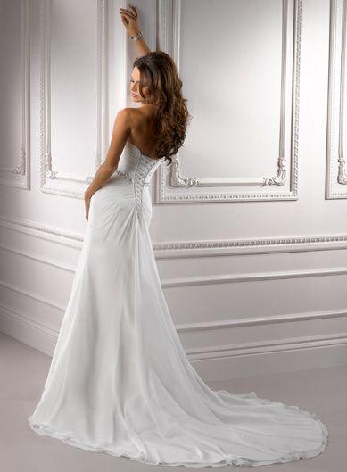 Ivory Ruched Chiffon Strapless Sweetheart Beaded Empire Waist Courtney Wedding Dress - Unique Vintage - Prom dresses, retro dresses, retro swimsuits.