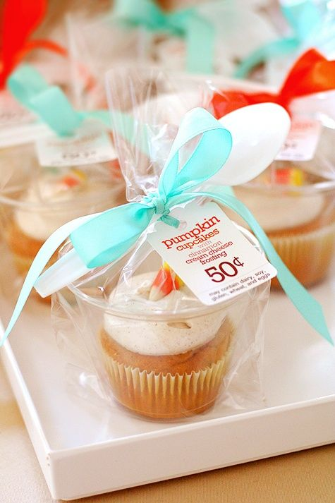 Use 9oz. plastic cups wrapped in treat bags to individually package cupcakes.