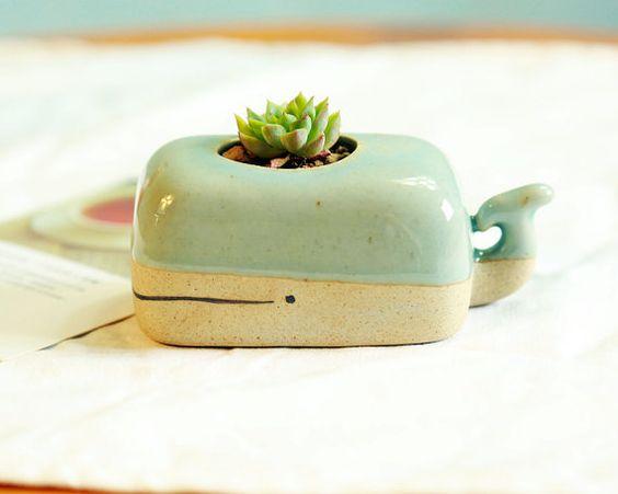 Turquoise Whale Planter   Cute Plant Pot Cute Desk Planter Unique Planter Gift…