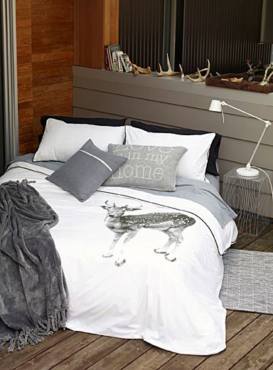 jeux de housse de couette duvet and chalets on pinterest. Black Bedroom Furniture Sets. Home Design Ideas