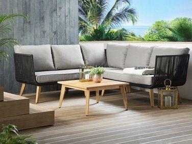salon de jardin en bois acacia avec