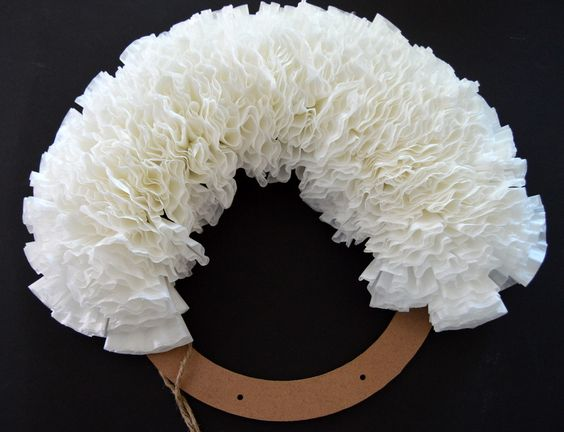 Coffee filter wreath, Wreaths and Coffee filters on Pinterest