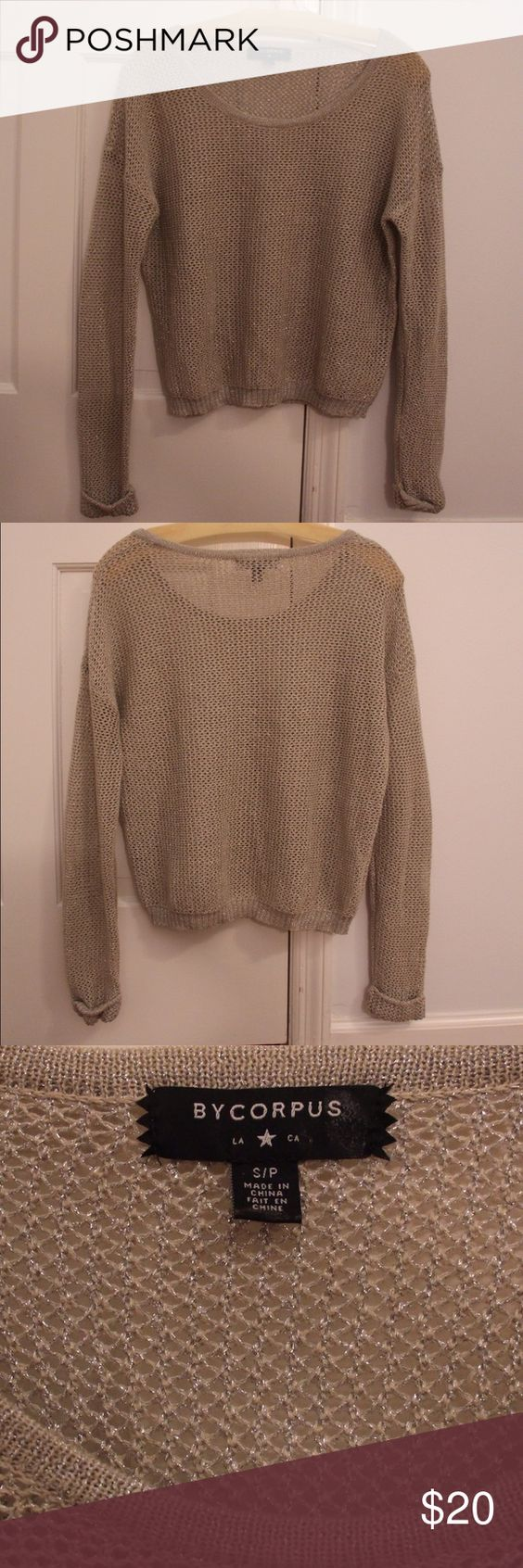 Urban Outfitters ByCorpus Open Knit Beige Sweater Urban Outfitters ByCorpus Open Knit Beige Sweater Size Small. Boxy fit, cuffed sleeves. Worn once! Urban Outfitters Sweaters