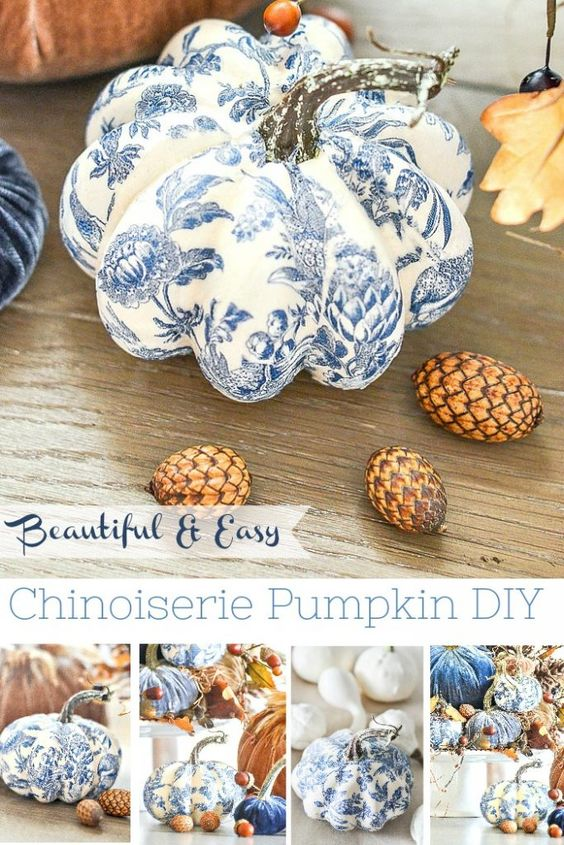 CHINOISIERIE pumpkins are so easy to make. Just 3 things needed to make them! Create a beautiful blue and white patterned pumpkin! #fall #autumn #stonegable #fall pumpkins ##chinoiserie #falldiy #falltutorial #fallhomedecor #fdallhomedecorideas #falldecorating #beautifulpumpkins #easydiy #homedecordiy