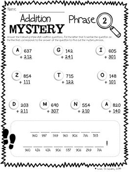 math worksheet : math mystery phrases pack 3 digit  math printables and  : Addition Mystery Picture Worksheets