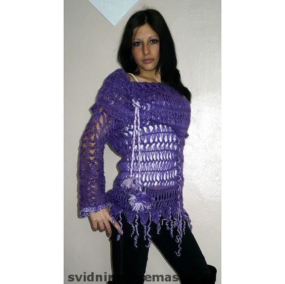 Купить блузон Фиолетовое настроение 2 - ажурный блузон, блузон вязаный на вилке, блузон мохеровый