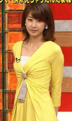黄色ワンピースの加藤綾子