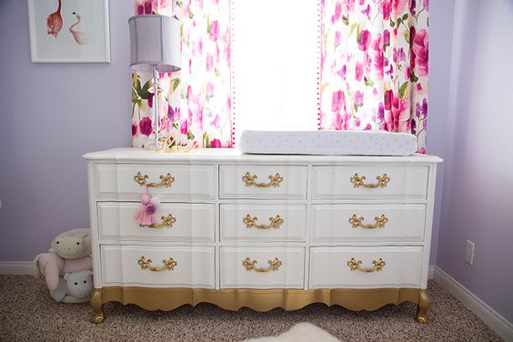 Project Nursery - Refinished Dresser with Gold Painted Accents
