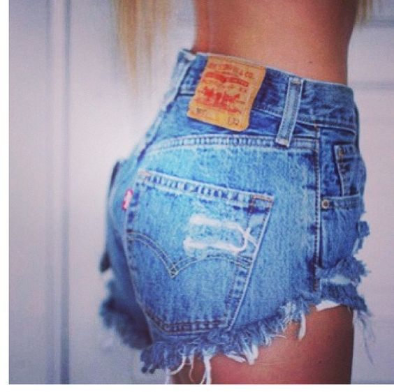 Cutt off Levi jeans made into high waisted shorts