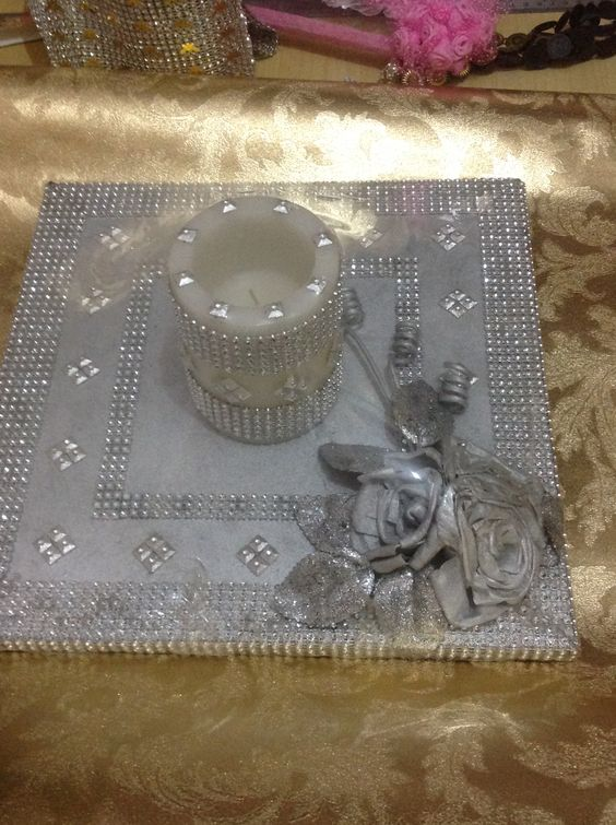 Beautiful platter designed with silver small flowers is again a good option for gifting!