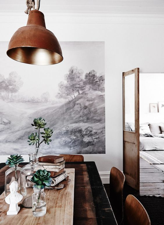 A dining room in brown and white / autumn tones at The Estate Trentham, Australia. Photo - Lisa Cohen.