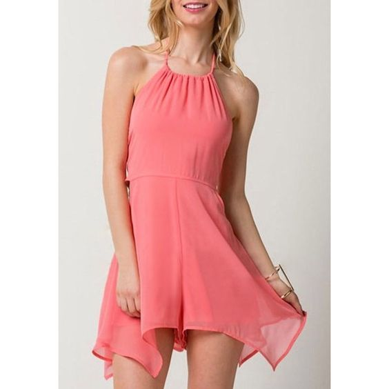 Light Coral Halter Romper Lookbook Store ($21) ❤ liked on Polyvore featuring jumpsuits, rompers, red rompers, red halter top, halter top, red romper and playsuit romper