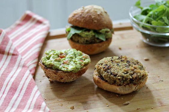 quinoa & black bean burger with a smoky avocadospread