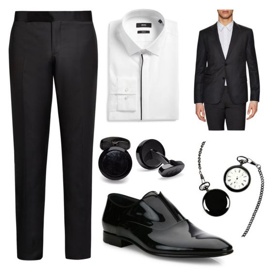 """Formal clean cut"" by jenniegonzalez on Polyvore featuring Giorgio Armani, HUGO, Marlín Birna, Cathy's Concepts, men's fashion y menswear"