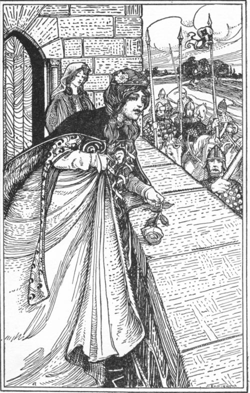 King Arthur and His Knights, by Maude L. Radford Illustrator Walter J. Enright 6 Arthur saw Guinevere bending over the wall