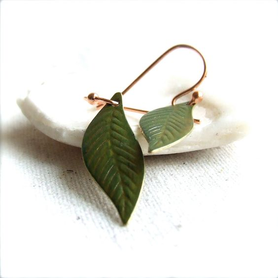 Mossy Green Patinaed Brass Leaf, Copper - Patina Earrings