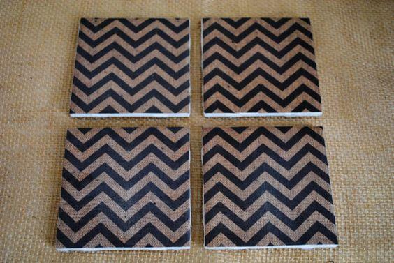 Coasters Burlap Chevron Tile Coasters Tile by ALittleDabWillDoYou