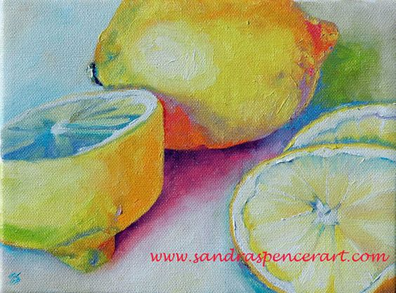 Original Lemons Bursting with Color Painting 6x8 by mybunnies3, $35.00