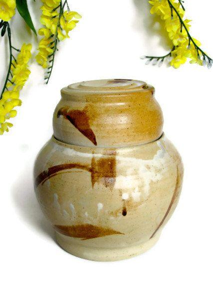 Ginger Jar, Lidded Jar, Cookie Jar, Candy Jar , Asian, Bamboo ,Rust ,Ceramic Stoneware ,Wedding Gift, Housewarming Gift #design #gifts