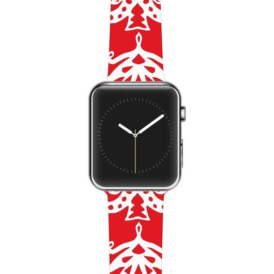 "Miranda Mol ""Ornate Trees Red"" White Holiday Apple Watch Strap"