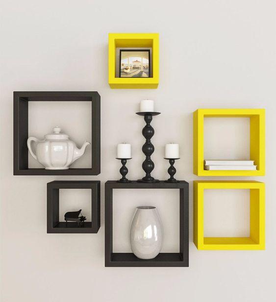 6 nichos em mdf preto fosco e amarelo laca - 100% mdf 15mm: