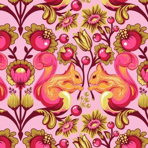 Tula Pink - The Birds and the Bees - Squirrel in Sunset: Freespirit Tula, Squirrel Fabric, Fall Fabrics, Fave Fabrics, Sunset Fabric, Tula Pink Quilt, Tula Pink Fabric, Bees Squirrel, Pink Bird