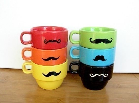mustache stackable espresso mugs $55 wow on the price, @Leslie Autumn can you make something like these with your Silhouette.  oh and if mike asks you what i want for Christmas, you know the answer