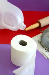 Activities: Make Homemade Paper; I've made paper using old newspaper before, but not toilet paper. For me, this kind of defeats the purpose of recycling (as the toilet paper is unused and who'd want to use used toilet paper??? yuck!). Still, the project can show kids how paper can be made. I still like using newspaper better....you have to involve a blender for that instead of just the plastic bottle. You also have to bleach or color the paper unless you just want gray.