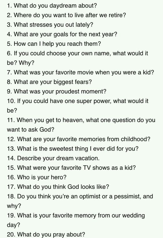 Just say which # and I will answer!