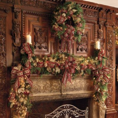 Christmas - Elegant carved wood of a bygone age graces the mantle