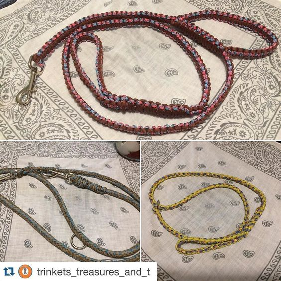 Don't forget to follow my other account and to enter the opening giveaway!  #Repost @trinkets_treasures_and_t with @repostapp.  What's that? I just added 3 new items to my etsy shop?? Here they are!  Top: 4.5 ft 2 handled leash Left: 3 way service dog leash (Works Hands Free too!!) Right: paracord slip lead (works great after/during baths as well as if you work in a kennel environment!) #dogcollar #dogleash #paracordleash #sliplead #3wayleash #handsfreeleash #servicesogleash #trainineash…
