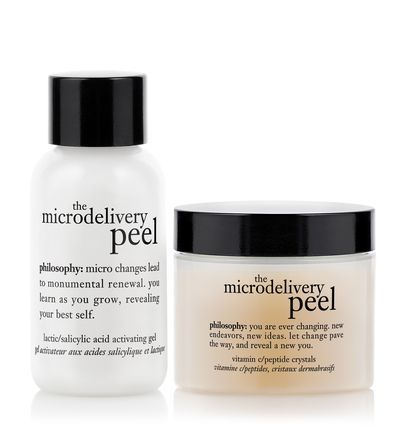 The Microdelivery Peel | philosophy, £59.50. A two-step, in-home peel that resurfaces and rejuvenates sun-damaged, hyperpigmented and ageing skin. the kit includes vitamin c/peptide crystals and lactic/salicylic acid activating gel.