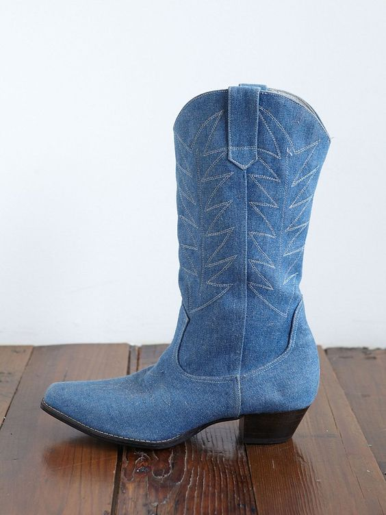 Vintage Cowboy Boots  Beautiful pair of vintage denim cowboy boots. Lightly distressed denim. Embroidered upper...