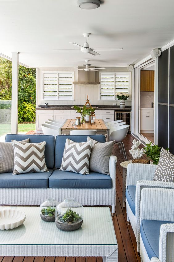 highgate house outdoor kitchen patio whicker furniture chevron pillows summer fan decorating contemporary-deck