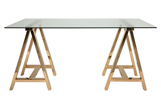 Savanna desk gold one kings lane desks and products Sawhorse desk legs