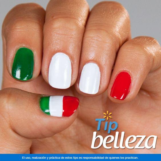 Uñas tricolor. Dale un toque mexicano a tus manos en las fiestas patrias, decora tus uñas con los colores de la bandera. Con la variedad de colores de barniz para uñas que puedes encontrar en Walmart puedes formar diseños increíbles. En Walmart SIEMPRE encuentras TODO y pagas menos.
