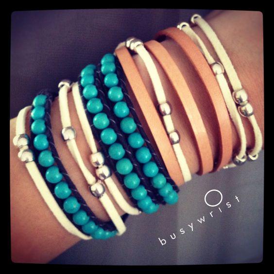 leather + suede + stones | www.busywrist.com #wrapbracelet #busywrist