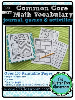 3rd Grade Common Core Math Vocabulary Packet Journal border=