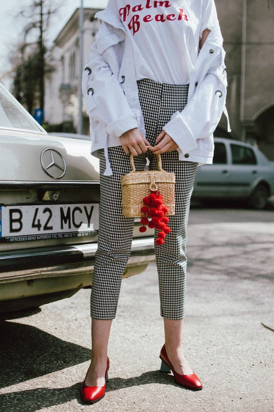Spring basics, Zara gingham trousers, graphit tee, oversize white jacket with lace up, red shoes, straw bag, andreea birsan, couturezilla, cute spring outfit ideas 2018, high waist check trousers, checkered pants, vichy trousers, black and white trousers, check printed trousers, retro pants, printed t-shirt with message, red cat eye sunglasses, layered gold necklaces, gold hoop earrings, straw bag, raffia bag, the cutest bag for spring and summer, the straw bag trend, where to find the best stra