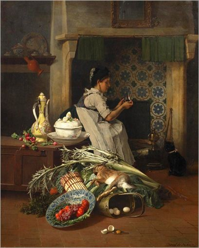 David Emile Joseph de Noter (Belgian, 1825-1892) - Kitchen maid with game and vegetables: