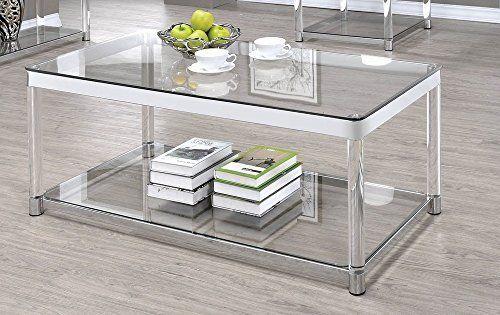 Coaster 720748 Co Glass Top Coffee Table Chrome Kitchen Dining Coffee Table Rectangle Coffee Table Rectangular Glass Coffee Table