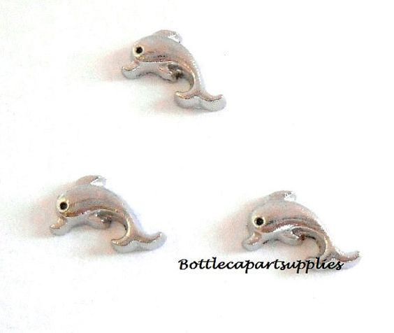 1 pc DOLPHIN Alloy Metal Floating Charm by BottlecapArtSupplies, $1.25