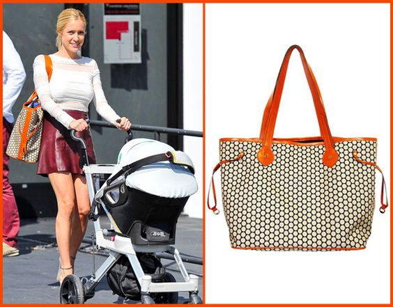 kristin cavallari with a mia bossi tangerine diaper bag spotted celebrity moms and dads. Black Bedroom Furniture Sets. Home Design Ideas