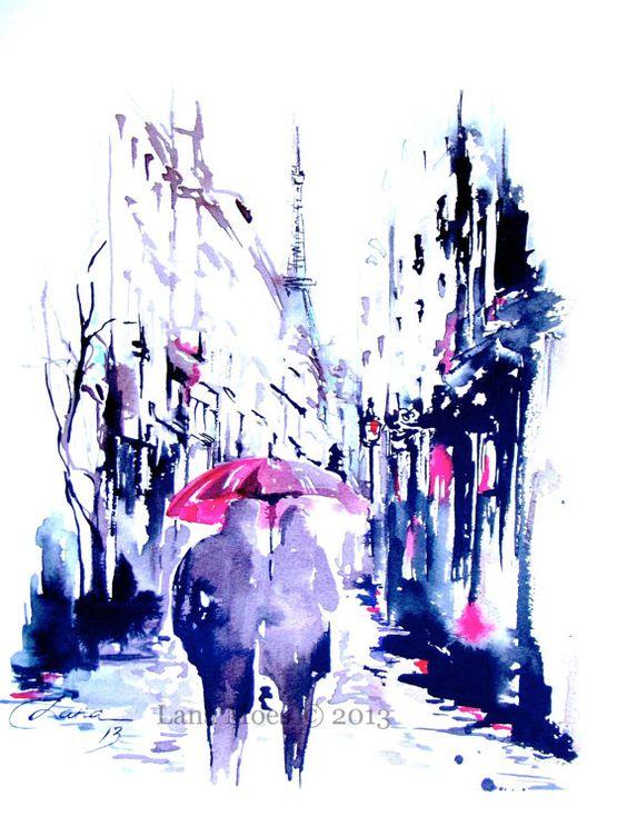 Paris Druck vom Original Aquarell Reisen Abbildung von LanasArt