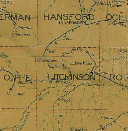 Hutchinson County Texas 1907 Postal Map Ghost Towns American